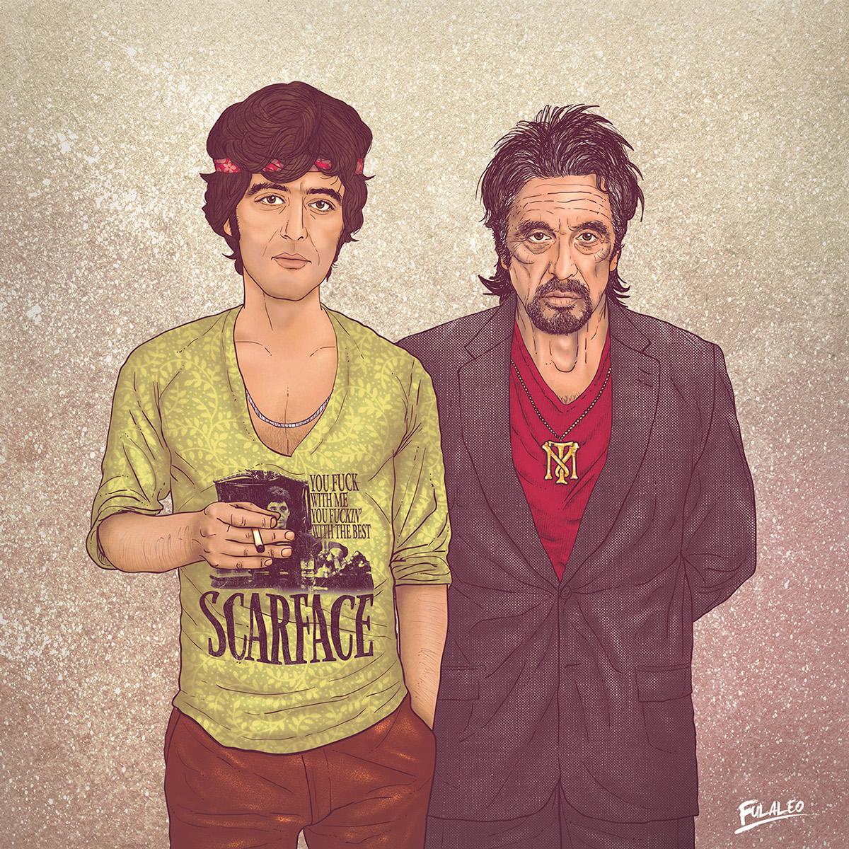 Ilustração Al Pacino, antes e depois