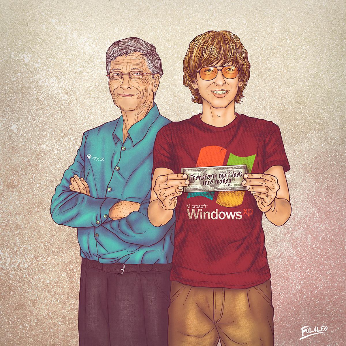 Ilustração Bill Gates, antes e depois