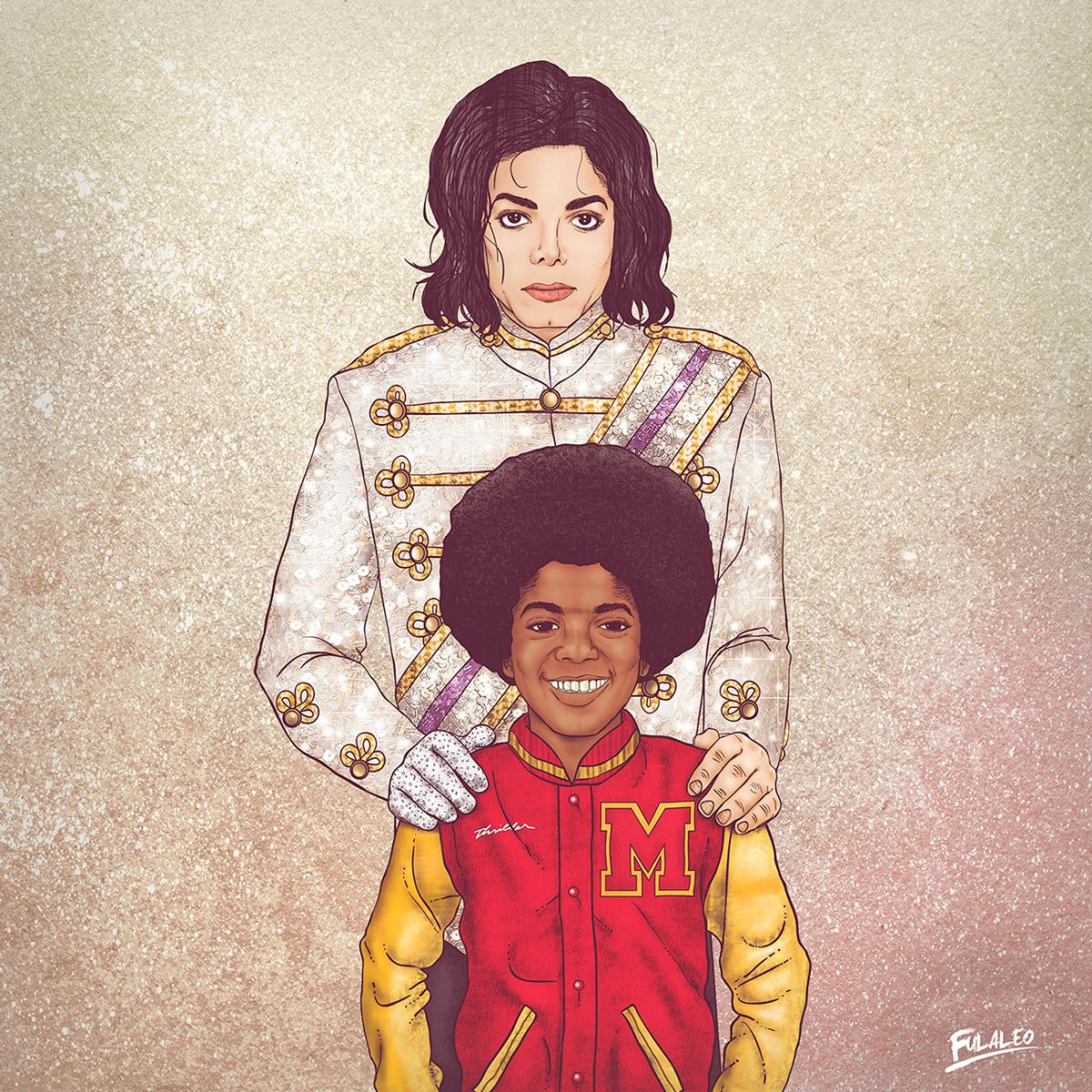 Ilustração Michael Jackson, antes e depois