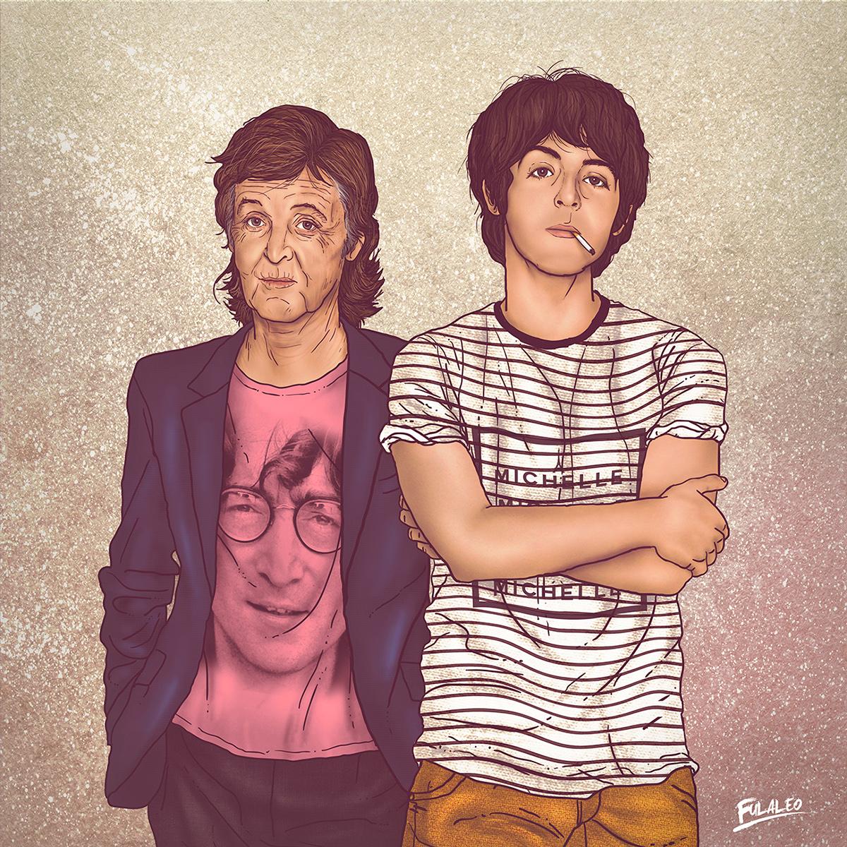 Ilustração Paul McCartney, antes e depois